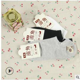 男女春夏经典纯色短袜简单日系袜子直角创意浅口隐形船袜纯棉