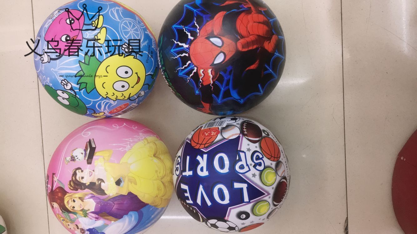 工厂直发全印卡通球儿童玩具球可爱卡通图案PVC充气拍拍皮幼儿园