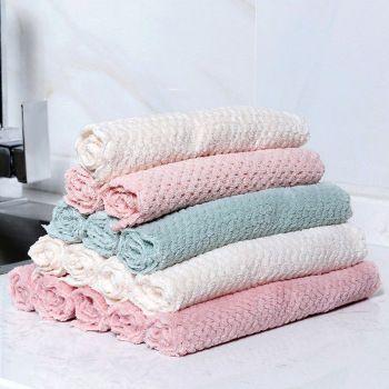 生产厂家厨房清洁洗碗布百洁布吸水30*30珊瑚绒不沾油抹布