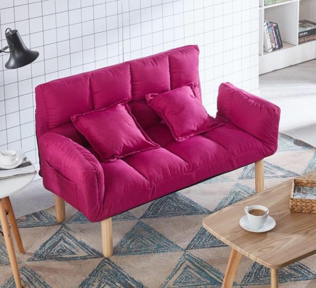 现代简约双人沙发布艺懒人榻榻米可折叠家用小户型出租房客厅卧室