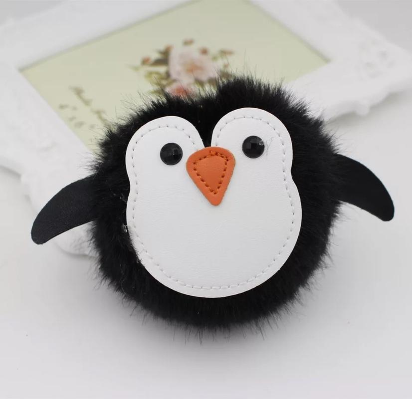 企鹅毛球钥匙扣挂件动物毛绒挂件