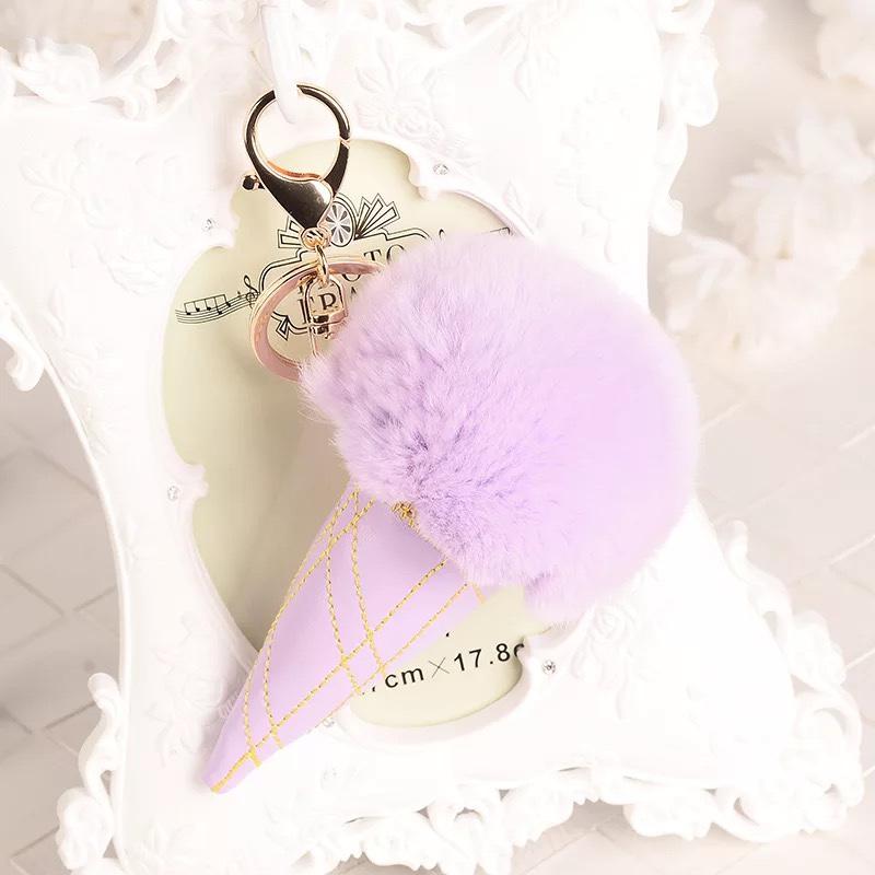 秋冬冰淇淋毛球钥匙扣挂件毛绒挂件
