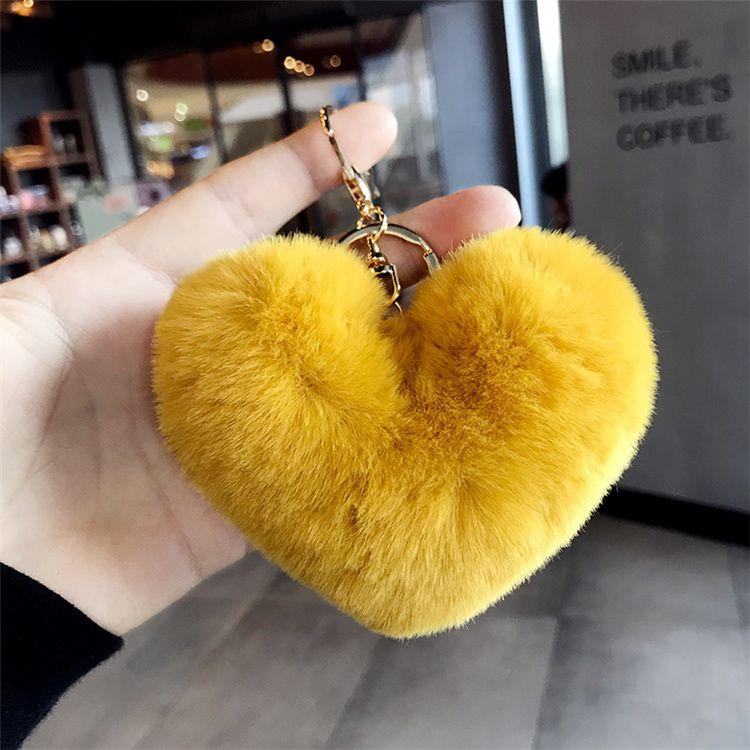钥匙扣挂件爱心形状30个颜色 毛绒钥匙扣
