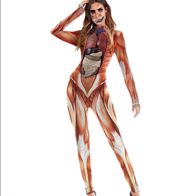 新款舞台表演服装搞怪服饰逼真人体结构组织印花连体裤
