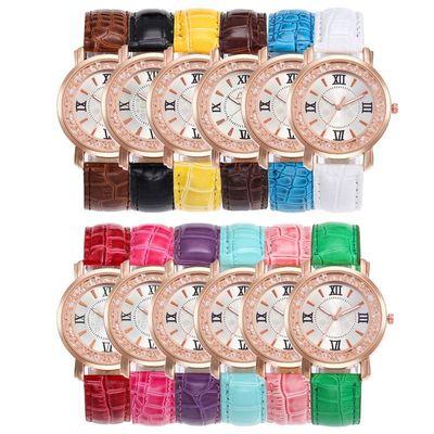 跨境ebay新款wish爆款热销简约休闲水钻创意礼品多彩表石英腕表