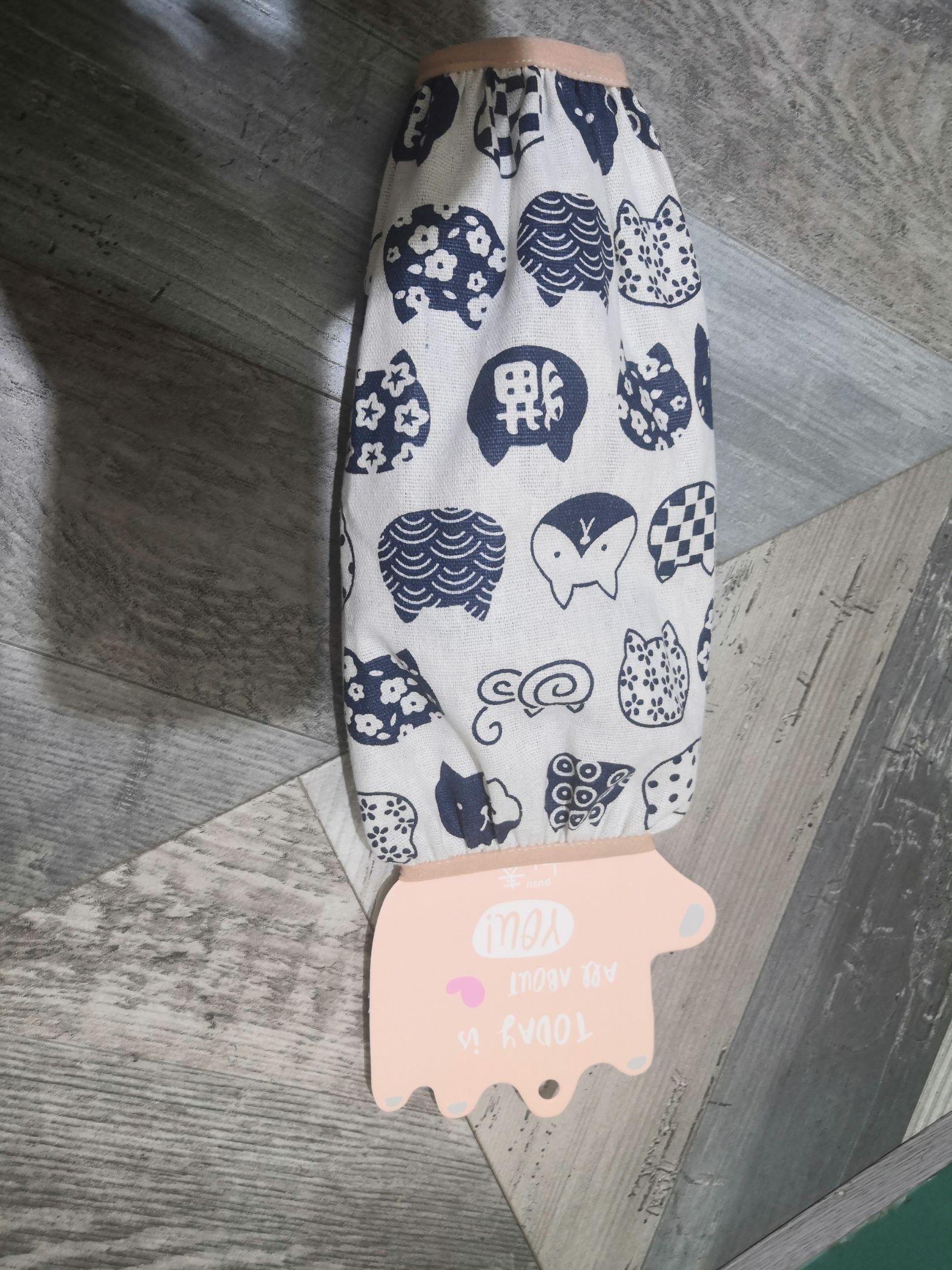 学生棉麻袖套女薄款烘焙可爱中长款防水防污袖筒办公护袖成人