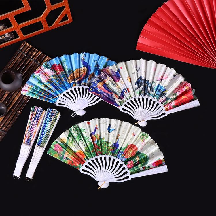厂家直销新款批发中国风龙骨孔雀扇 时尚彩绘艺术写真手持折叠扇舞蹈