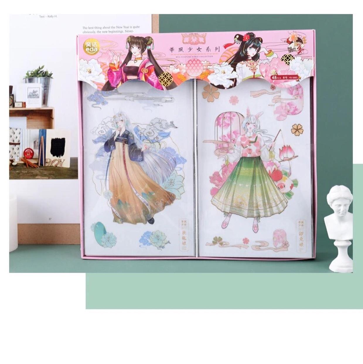 奕达文化 华风少女系列装饰烫金和纸贴纸手帐贴纸相册DIY