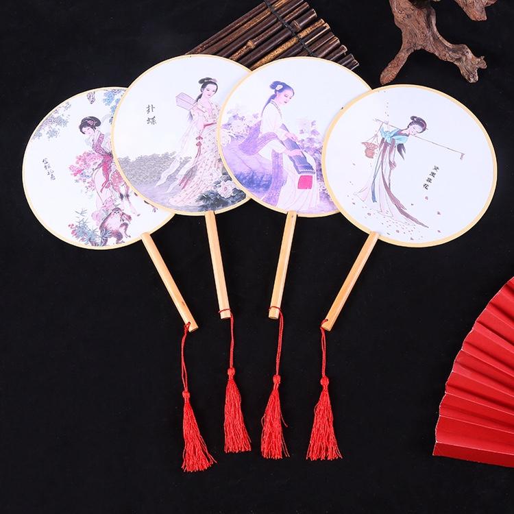 团扇扇子定制扇古风圆形流苏汉服舞蹈扇古典宫廷小圆扇21cm