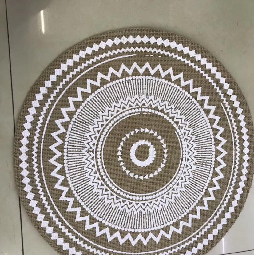 麻料印花隔热餐桌垫圆形