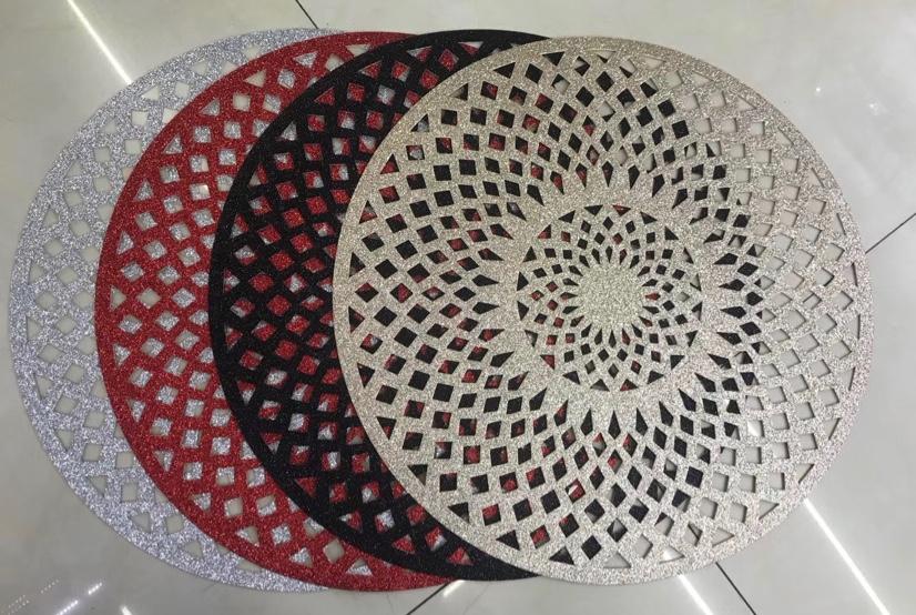 PVC镂空闪粉餐桌垫圆形