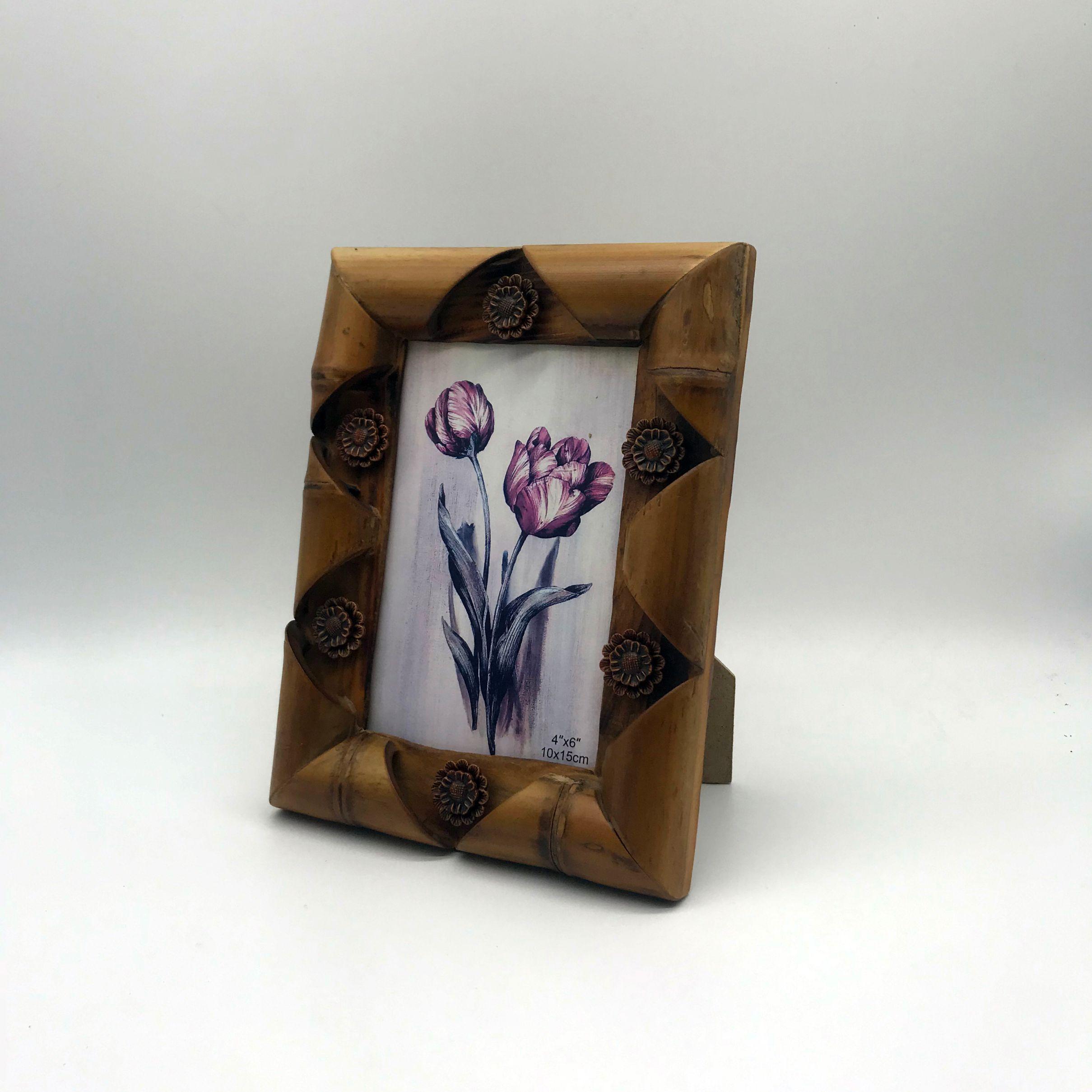 6寸竹子木头相框画框咖啡花手工创意现代简约摆件礼品田园复古
