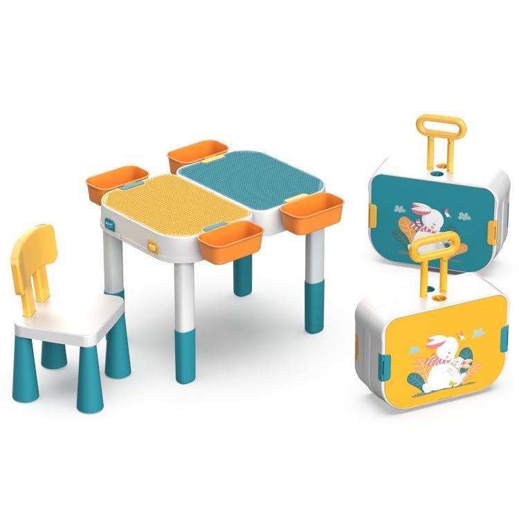 二合一可当拉杆大小颗粒积木桌兼容乐高积木儿童男女孩多功能学习旅行箱