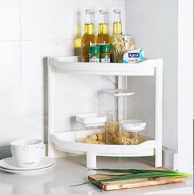 厨房置物架 日式厨房用品台州塑料三角形落地多层组合收纳整理