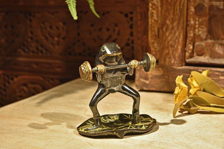 手工铜 举重蛙