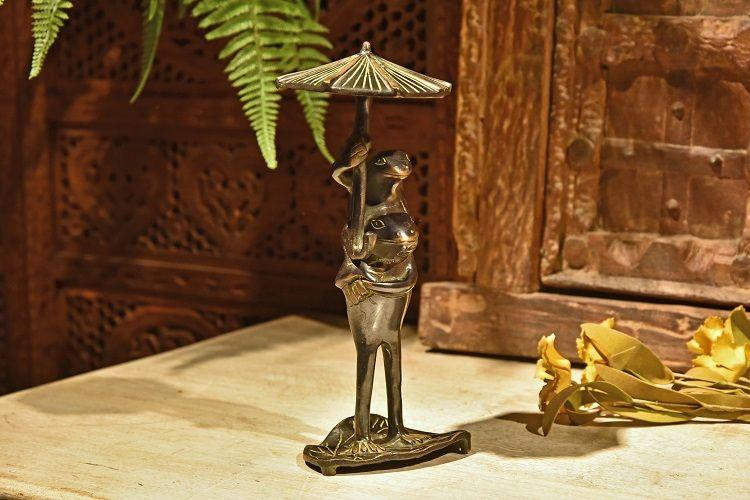 手工铜 撑伞亲子蛙