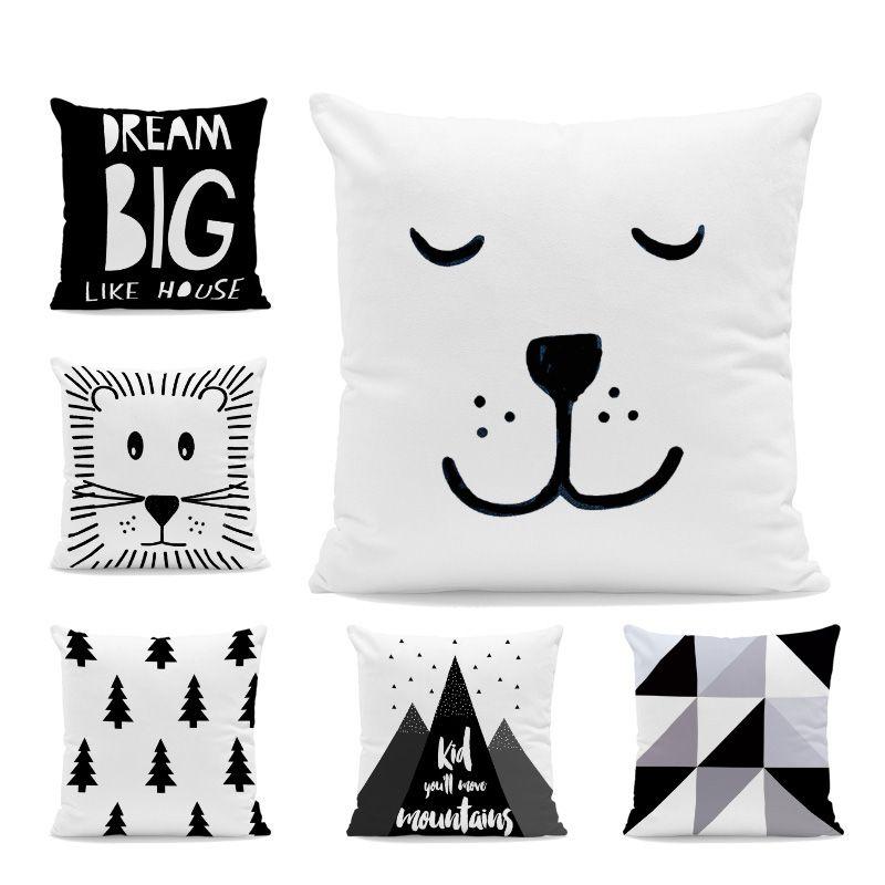 速卖通热卖有趣纯白抱枕装饰几何卡通印花沙发软装布艺抱枕