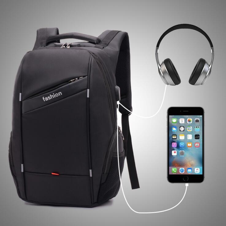 18寸电脑背包电脑包双肩包双肩背包防盗USB耳机数据线单拍不发