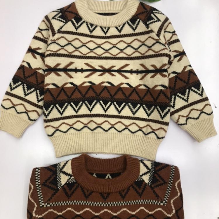 儿童毛衣秋冬季新款韩版男童提花潮流时尚圆领毛衣