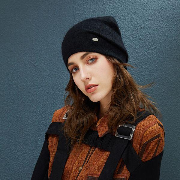 女无檐小便帽兔毛冬季帽子女休闲秋季针织的无檐帽女孩时尚帽子