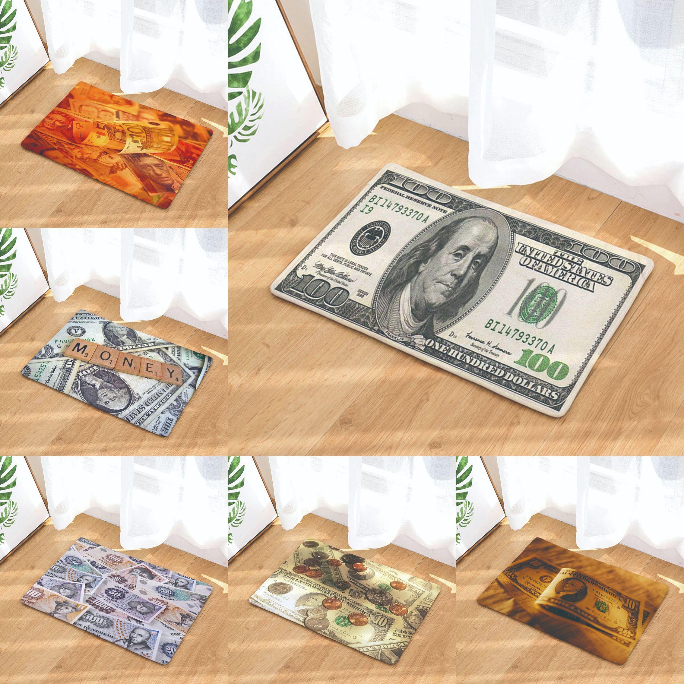 欧美热卖纸币装饰客厅地垫家居定制印花脚垫厨房卫生间入户门垫