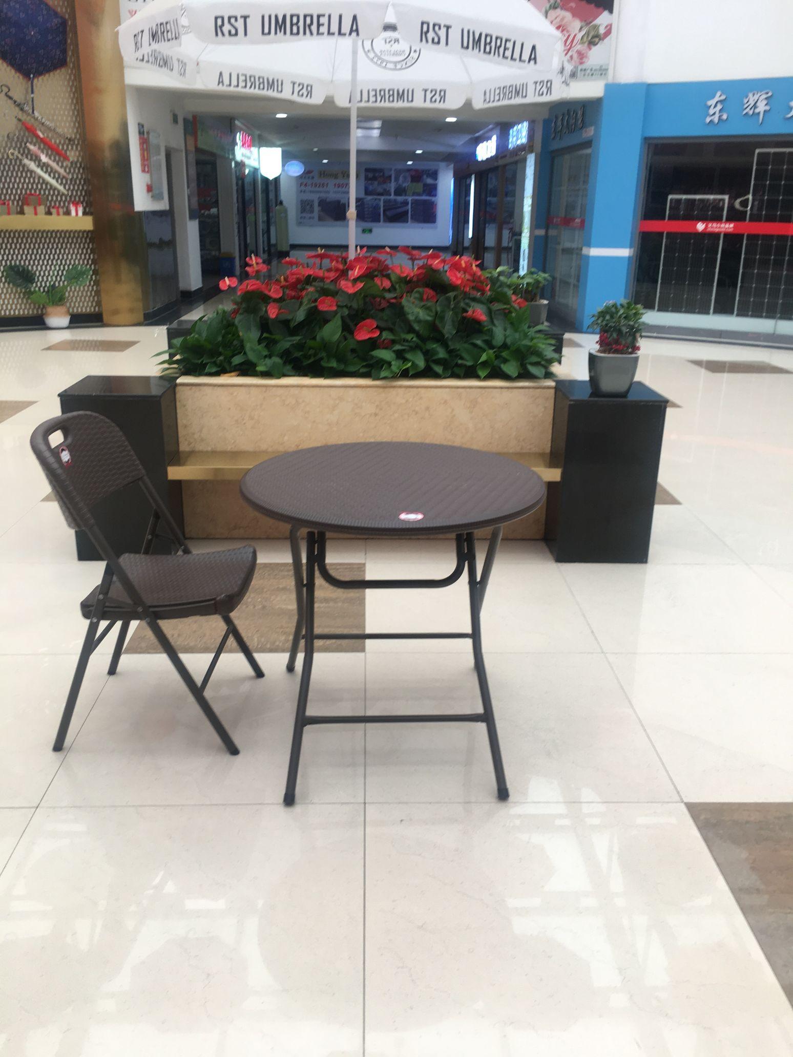 折叠桌子简约便携式摆摊桌会议桌餐桌家用圆桌阳台仿藤休闲桌