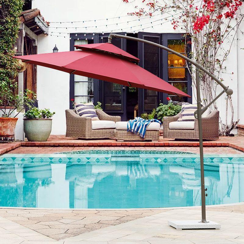 户外遮阳伞大太阳伞3M香蕉伞阳台室外伞摆摊折叠户外伞庭院伞
