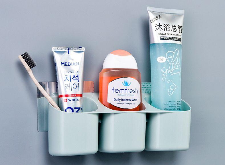 3H953 卫浴强力无痕壁挂三格牙刷架免打孔浴室牙刷筒置物整理架