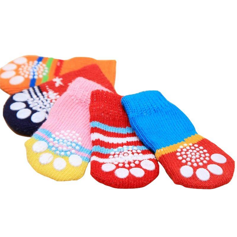 宠物园艺 宠物袜子四只装优质柔软防滑狗狗猫咪棉袜 多颜色多花型