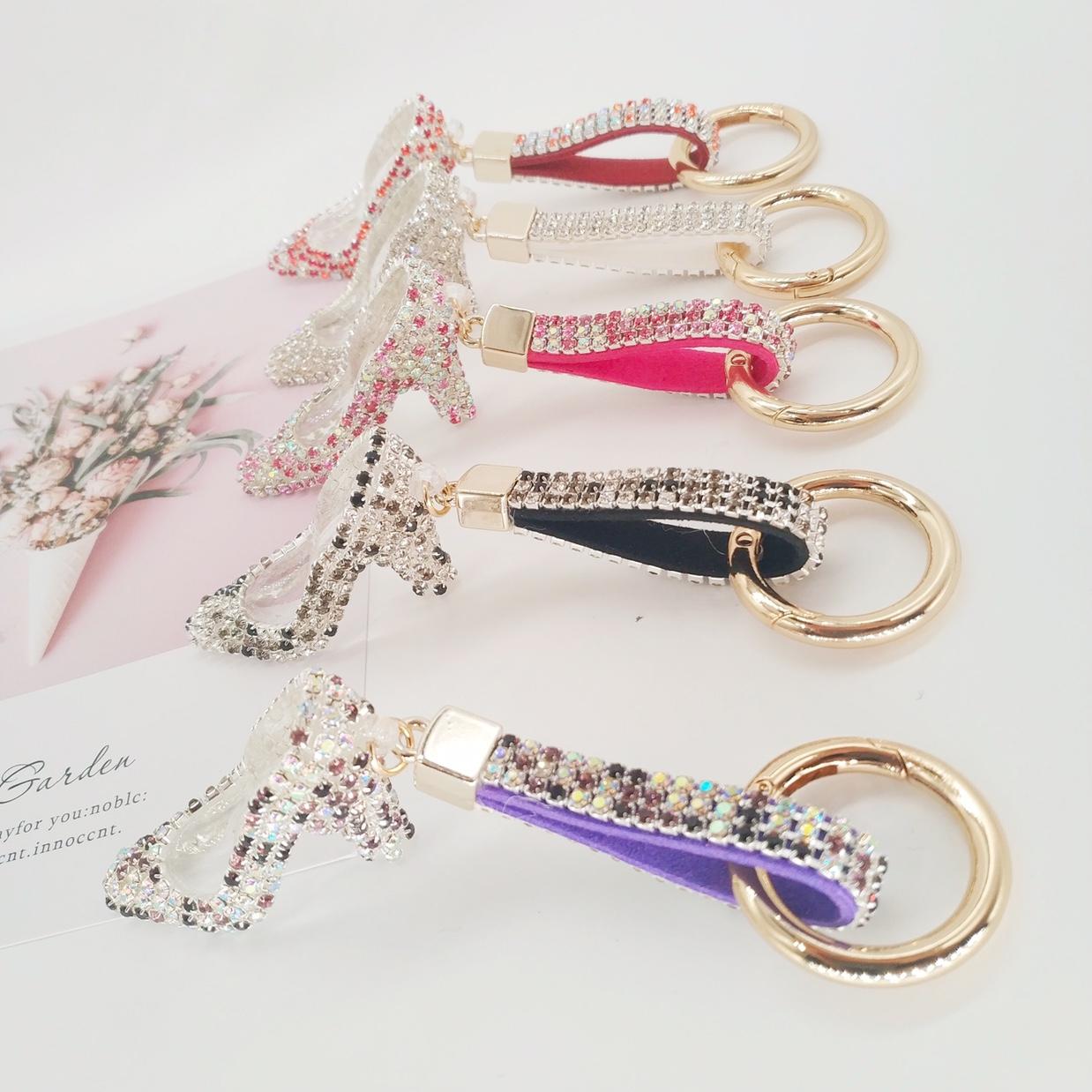 创意礼品韩国贴钻水晶高跟鞋汽车钥匙扣钥匙圈 闪钻女士包包扣挂
