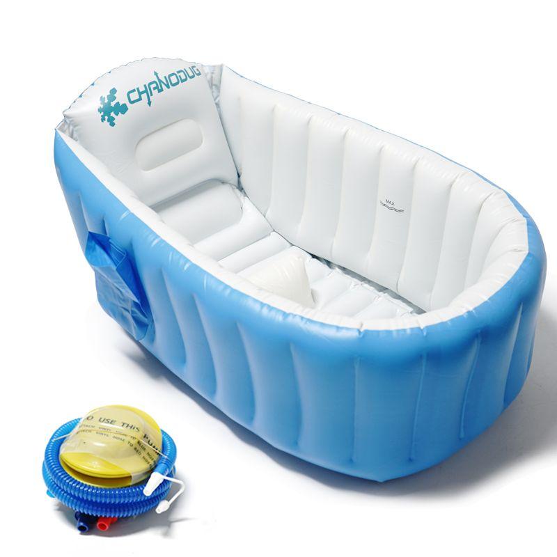 厂家直销婴儿洗澡盆折叠浴盆 幼童小型游泳 婴儿充气含泵加大浴缸