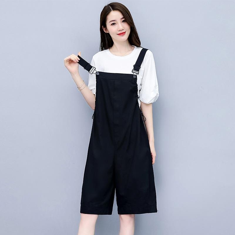 2020夏季新款韩版宽松显瘦直筒阔腿吊带连体套装洋气减龄背带裤女