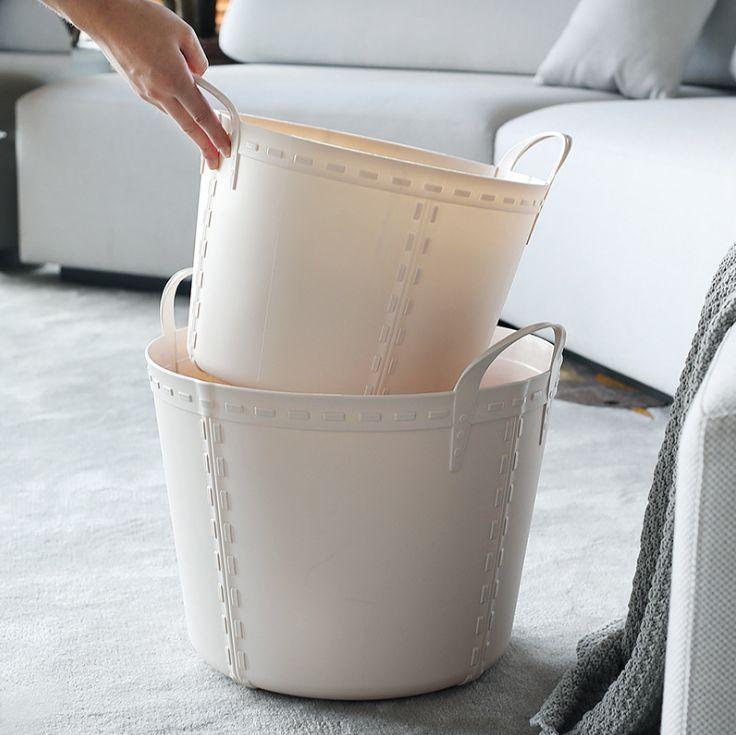 脏衣篮 亚马逊家用洗衣篮杂物整理收纳篮北欧大号圆形防水脏衣篓