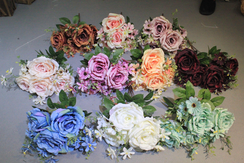 厂家直销仿真花卷边玫瑰婚庆仿真花