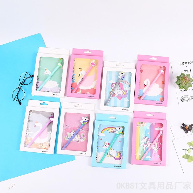 韩版卡通独角兽,天鹅,鲸鱼海洋手账本学生笔记本男女生手帐本日记本子文具套装