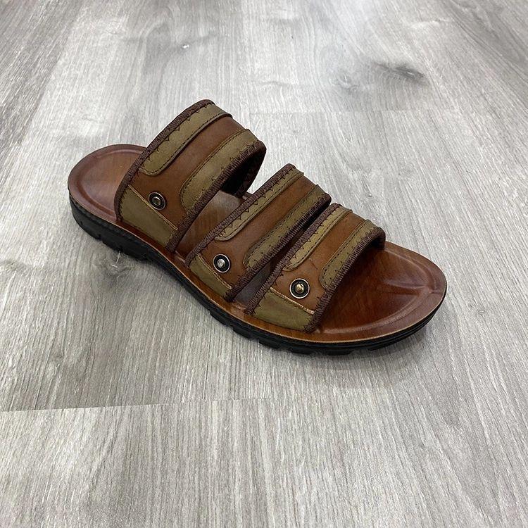 hot-selling genuine leather men's slippers 真皮沙滩男士拖鞋
