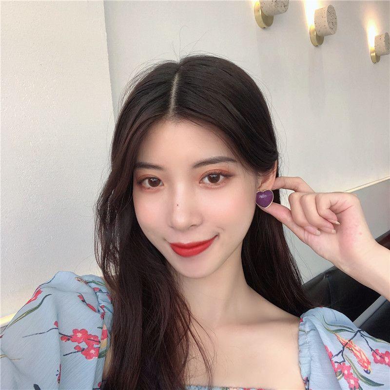 S925银针韩国气质简约复古紫色爱心形小众高级感少女耳钉