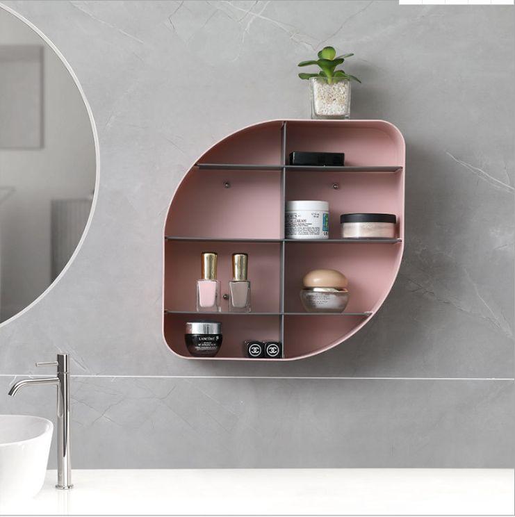美集欧式无痕收纳架卧室厨房置物架收纳多格免打孔客厅浴室置物架
