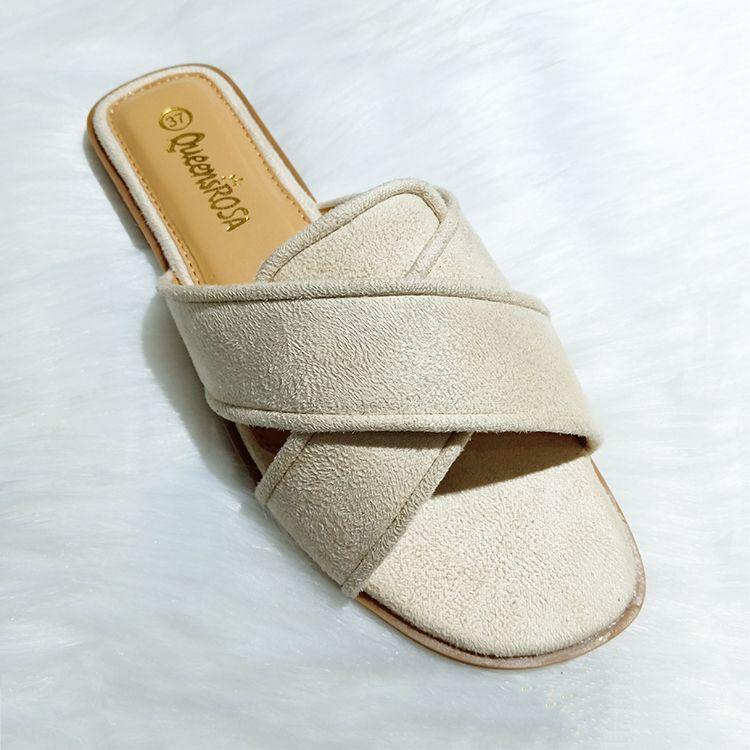 Elegant ladies flat slippers flannel outdoor拖鞋