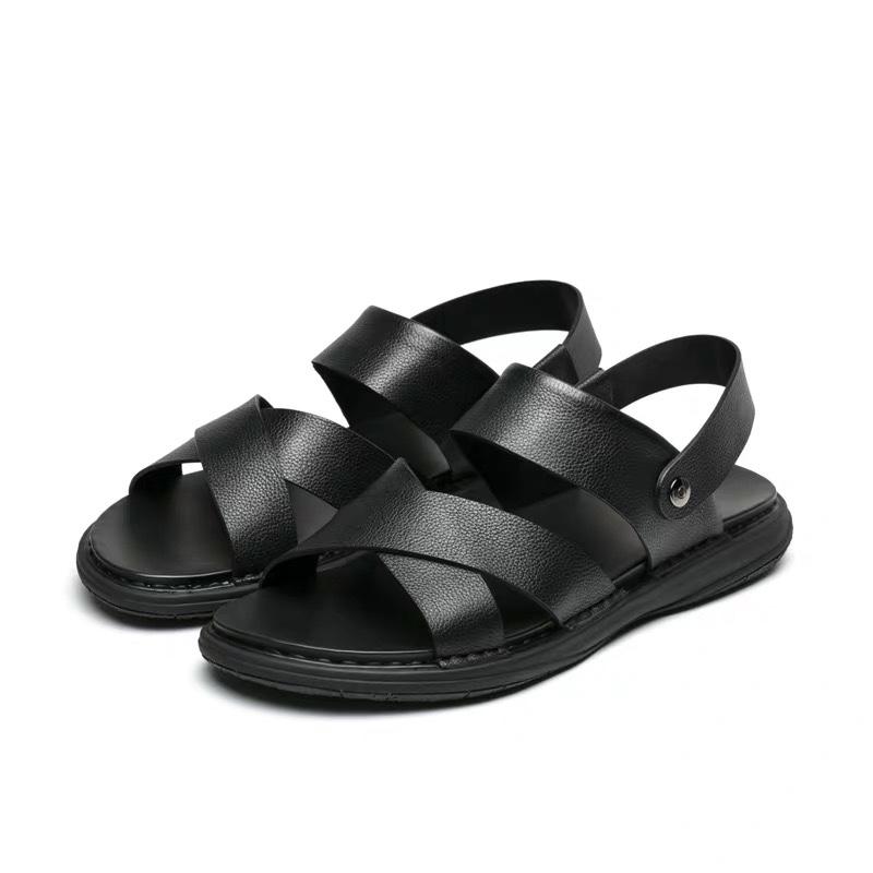 黑色沙滩鞋防滑耐磨透气橡胶大底男士凉鞋