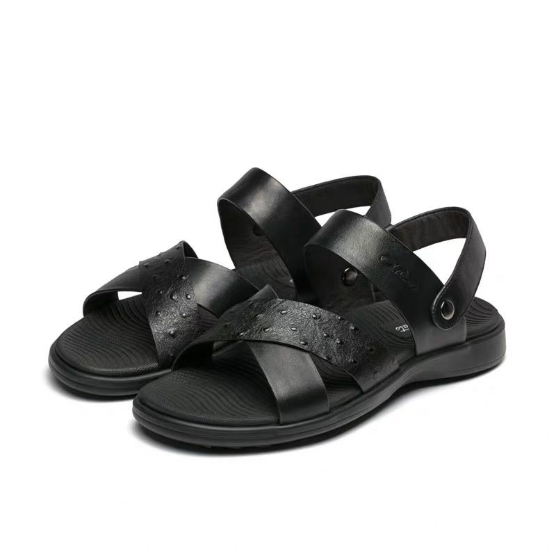 皮质鸵鸟纹男士凉鞋夏季韩版休闲男鞋耐磨