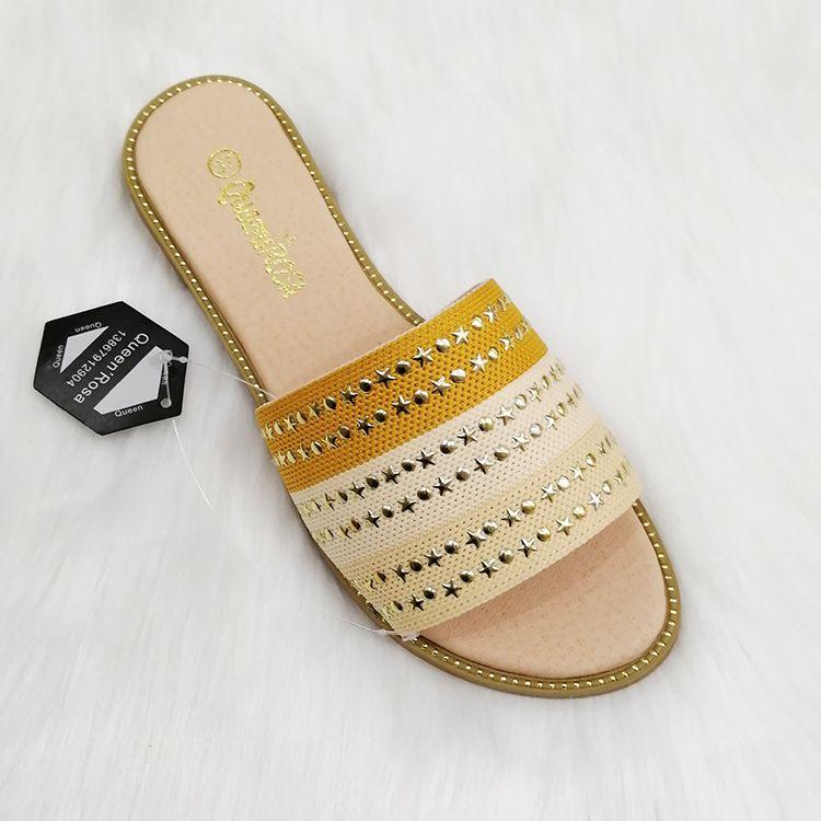 2020 ladies women flat slippers 女凉鞋拖鞋飞织面料星星