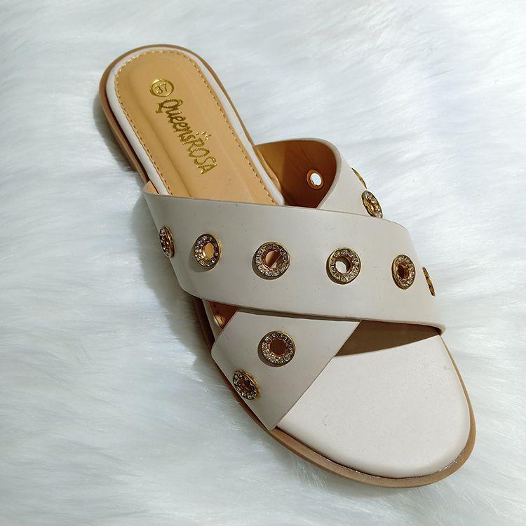Rhinestone flat ladies slippers 女圆孔带钻凉鞋拖鞋