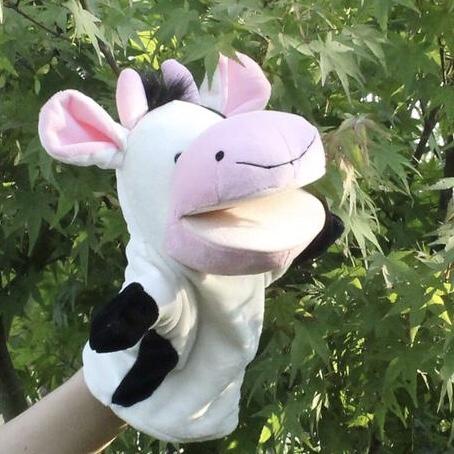 毛绒玩具指偶益智玩具动物牛手偶玩具儿童游戏玩具卡通动物创意指偶手偶玩具玩偶nici森林动物手偶玩具