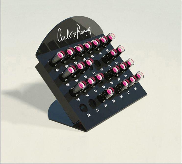亚克力口红展示架 彩妆用品收纳架亚克力桌面旋转口红展示架定制