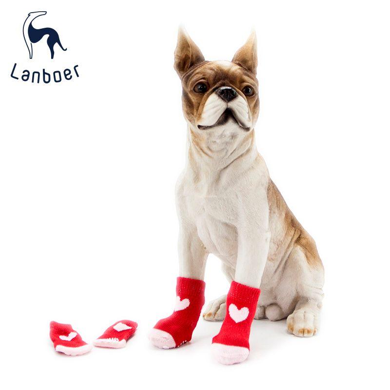 蓝波儿宠物袜子红色爱心两节胶套纯棉室内防滑鞋子