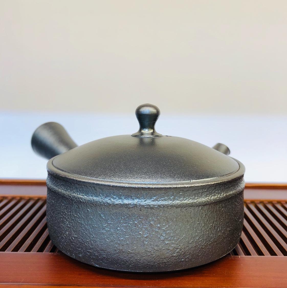 日本常滑烧 秋景陶苑 加藤一房(隐退) 南蛮烧平型冰茶壶横手急须壶