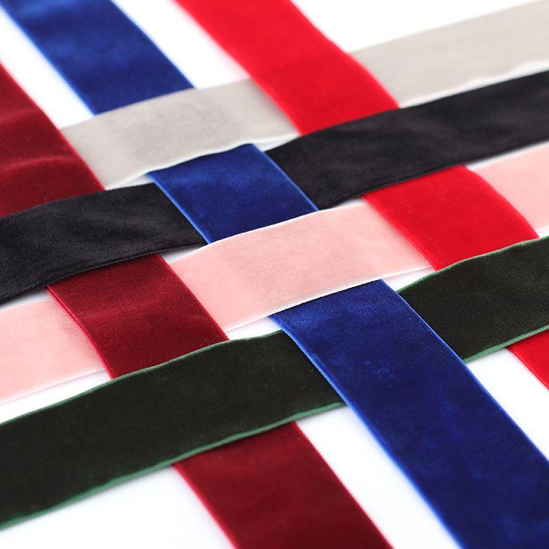 3.8CM韩国天鹅绒植绒DIY蝴蝶结饰品单面丝绒带多颜色现货直销