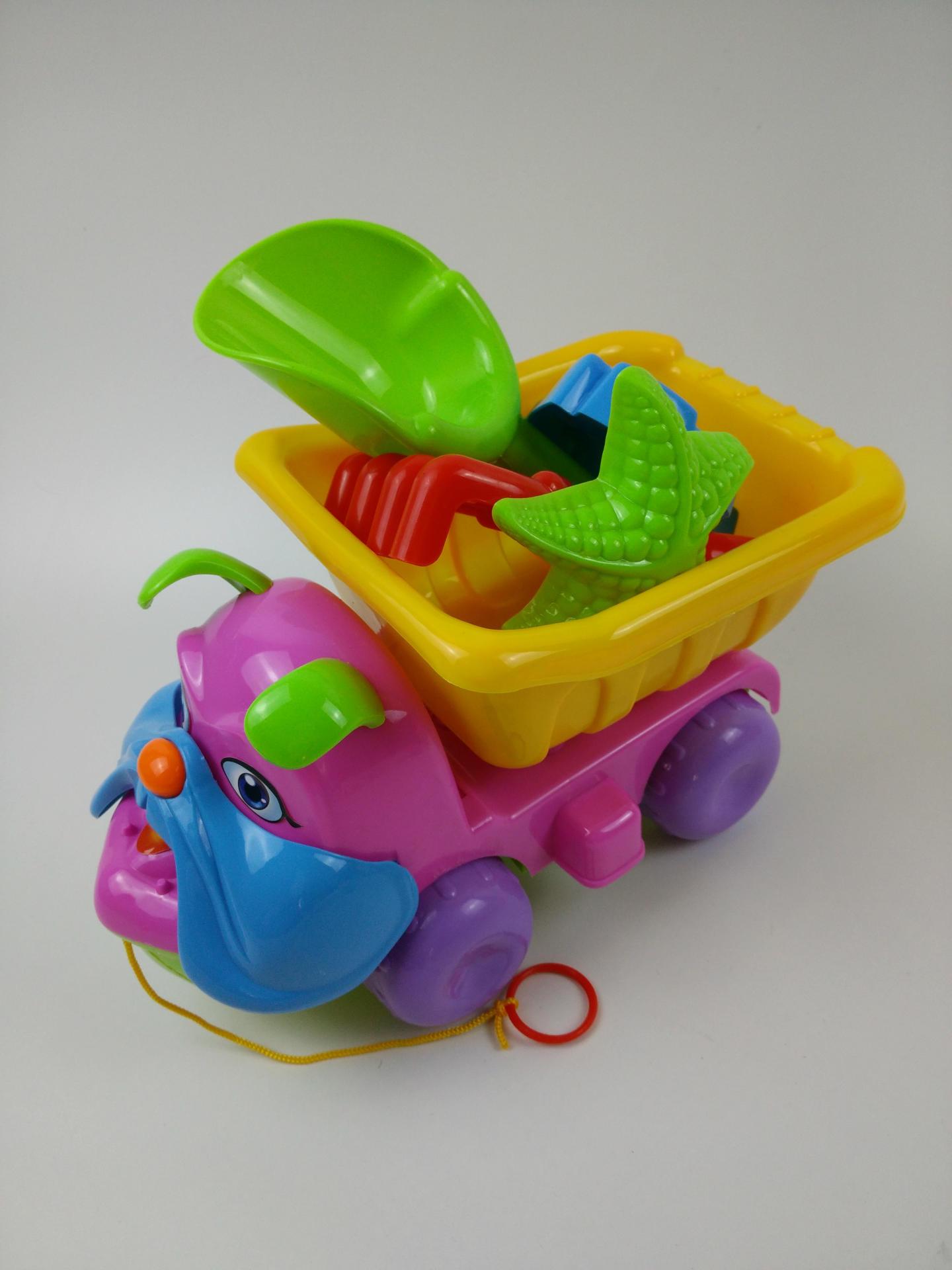 082A卡通狗沙滩车玩具套装儿童过家家玩具决明子挖沙工具