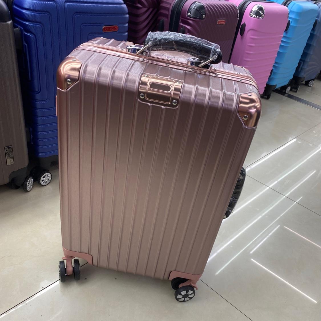 铝框玫瑰金20寸皮手把拉杆箱学生旅行必备物品